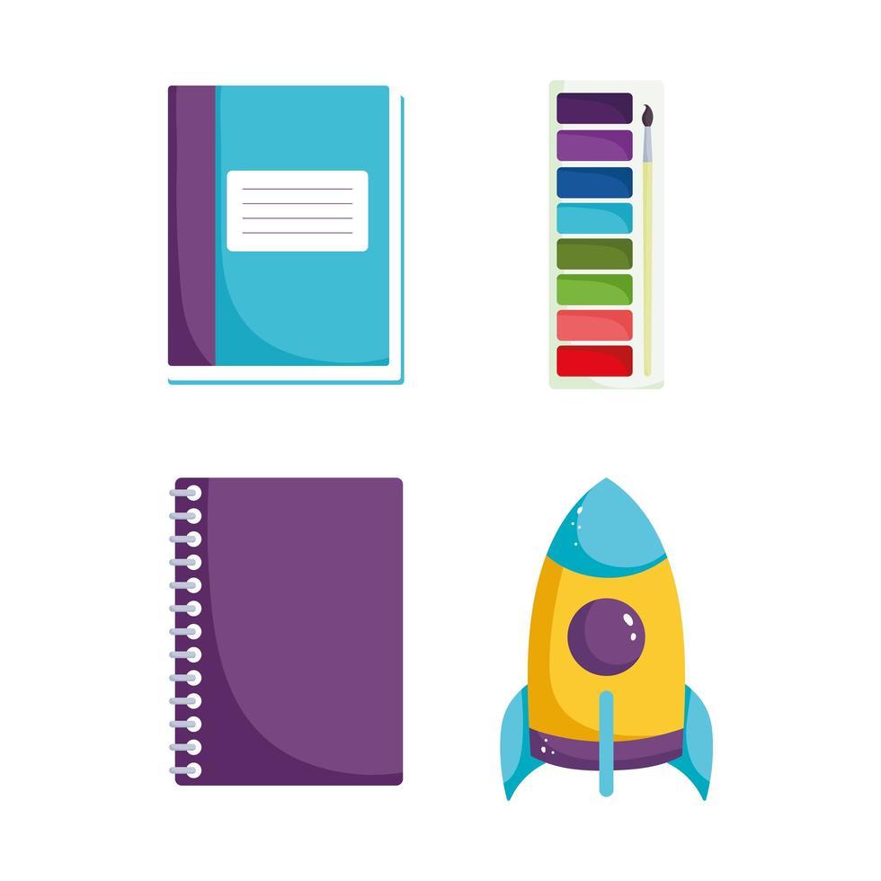 terug naar school, notitieboekje, boek en aquarelpalet vector
