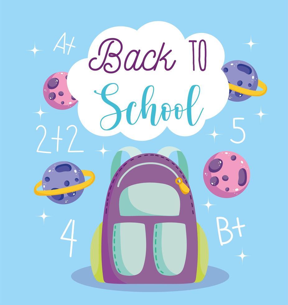 terug naar school, rugzak, planeten en rekenles vector