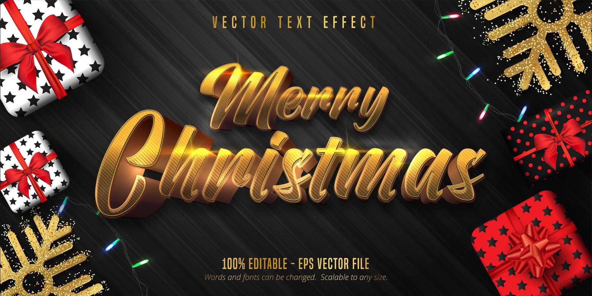 vrolijk kerstfeest glanzende gouden tekst poster vector