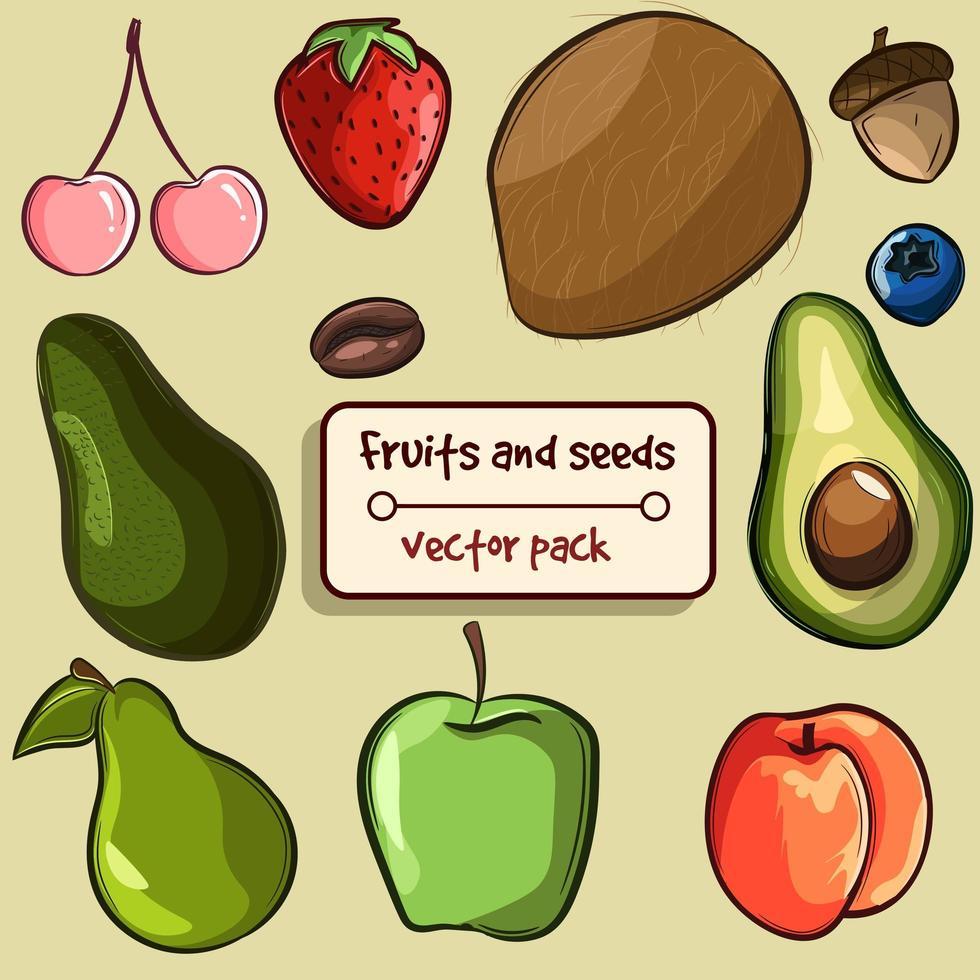 pak met verschillende soorten fruit en zaden vector