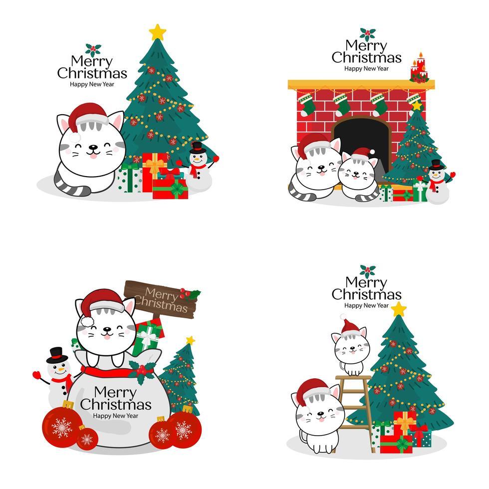 kerstmis en nieuwjaar gelukkige katten in santahoeden vector