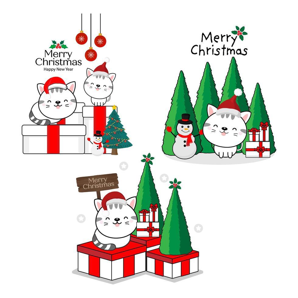 gelukkige katten in santahoeden. prettige kerstdagen en een gelukkig nieuwjaarskaart. vector