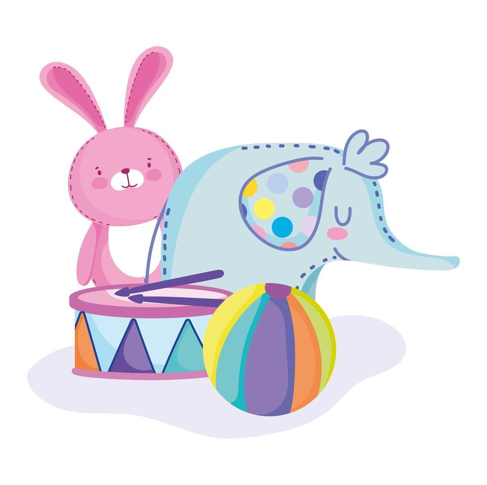 olifant, konijn, bal en trommel vector