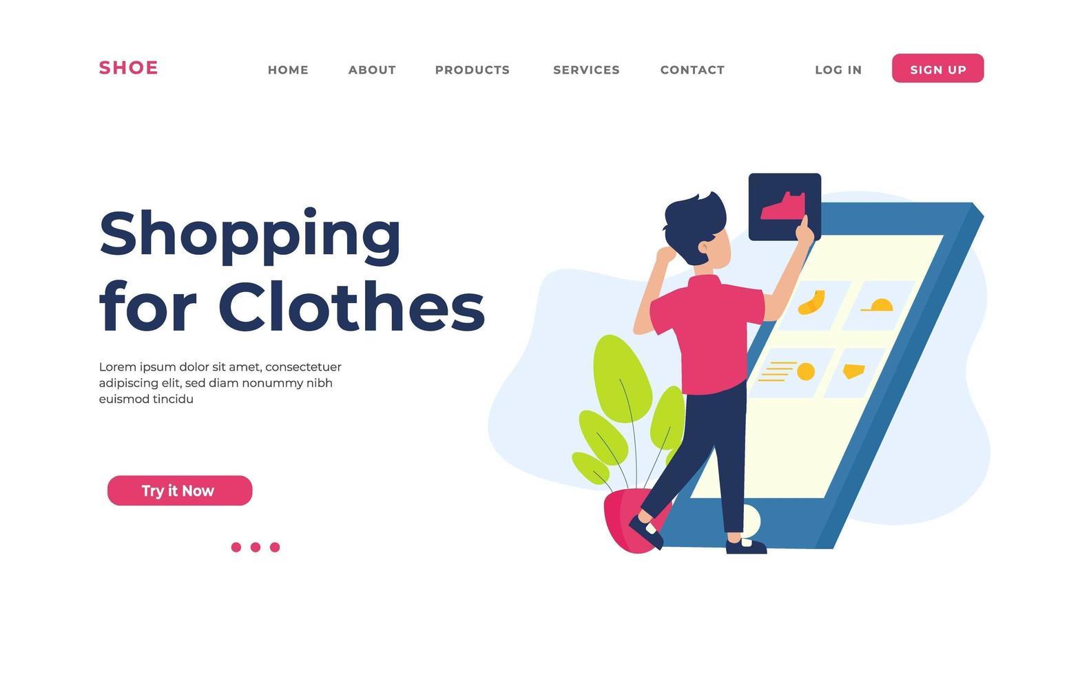 winkelen voor bestemmingspagina voor kleding vector