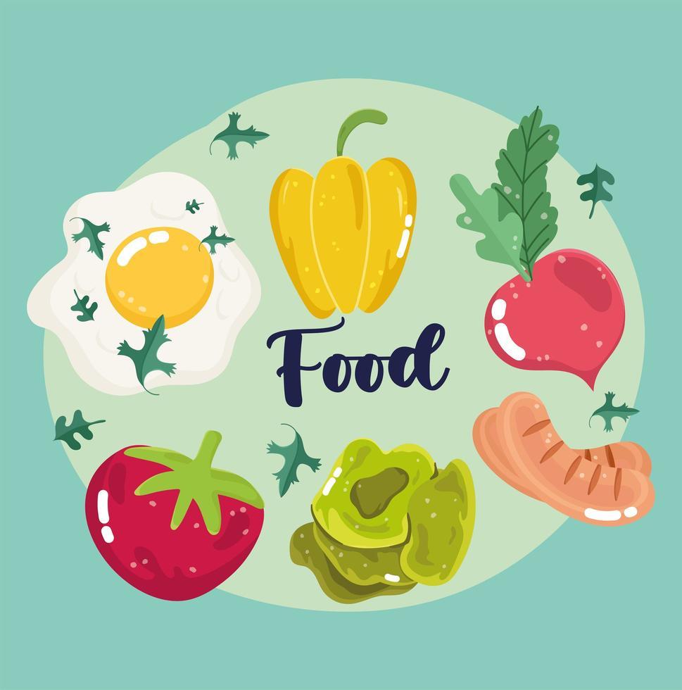 gebakken ei, paprika, radijs, tomaat, worst en sla vector