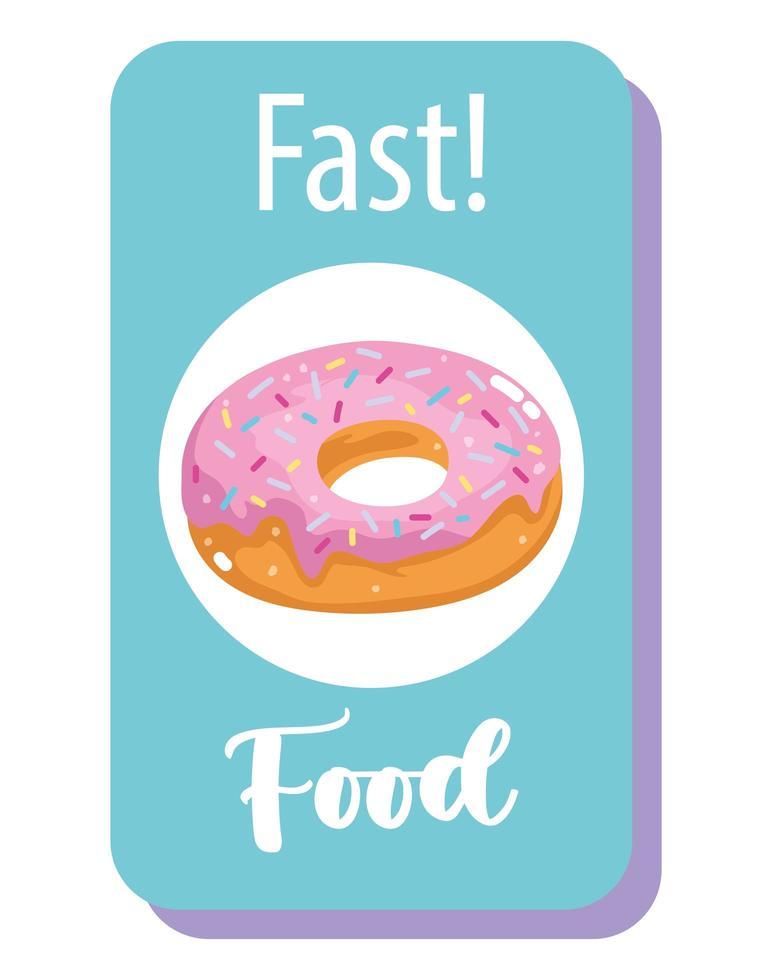 fastfood, zoet donutdessert vector