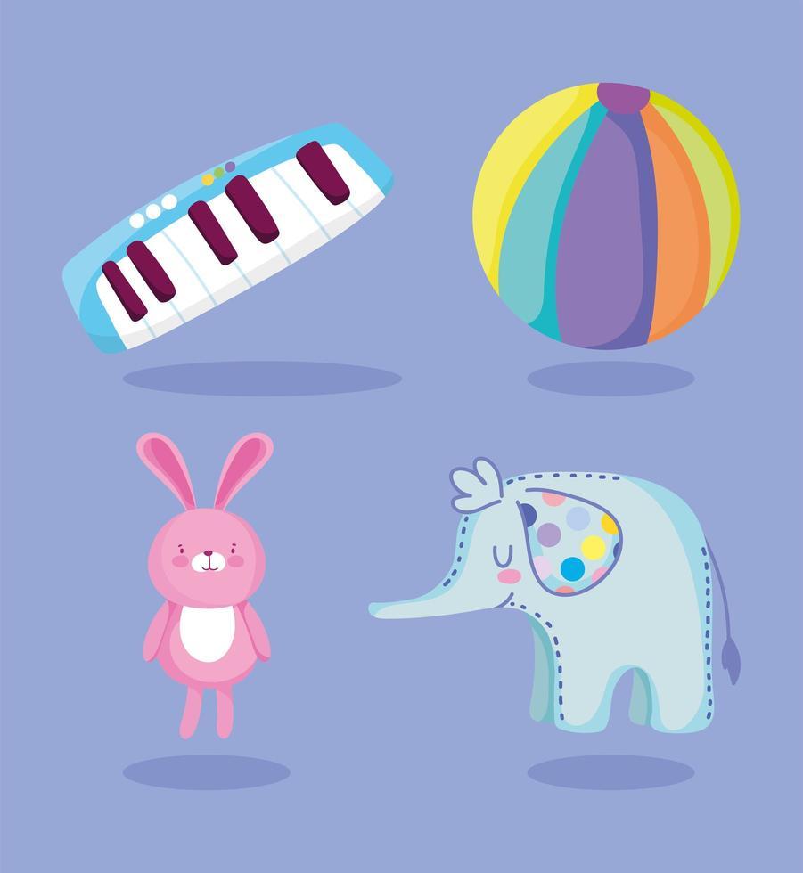 cartoon piano, olifant, konijn en bal pictogrammen vector