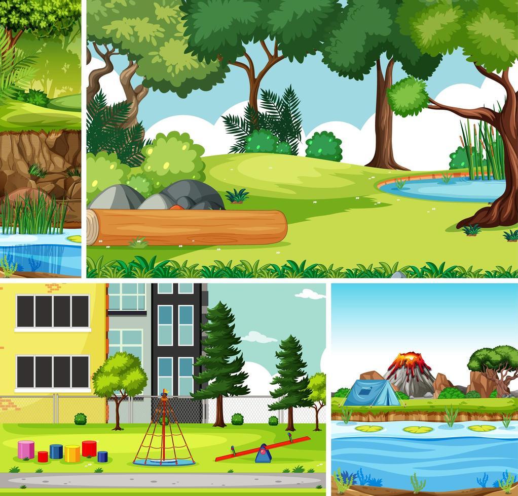 vier verschillende scènes in cartoonstijl in de natuuromgeving vector