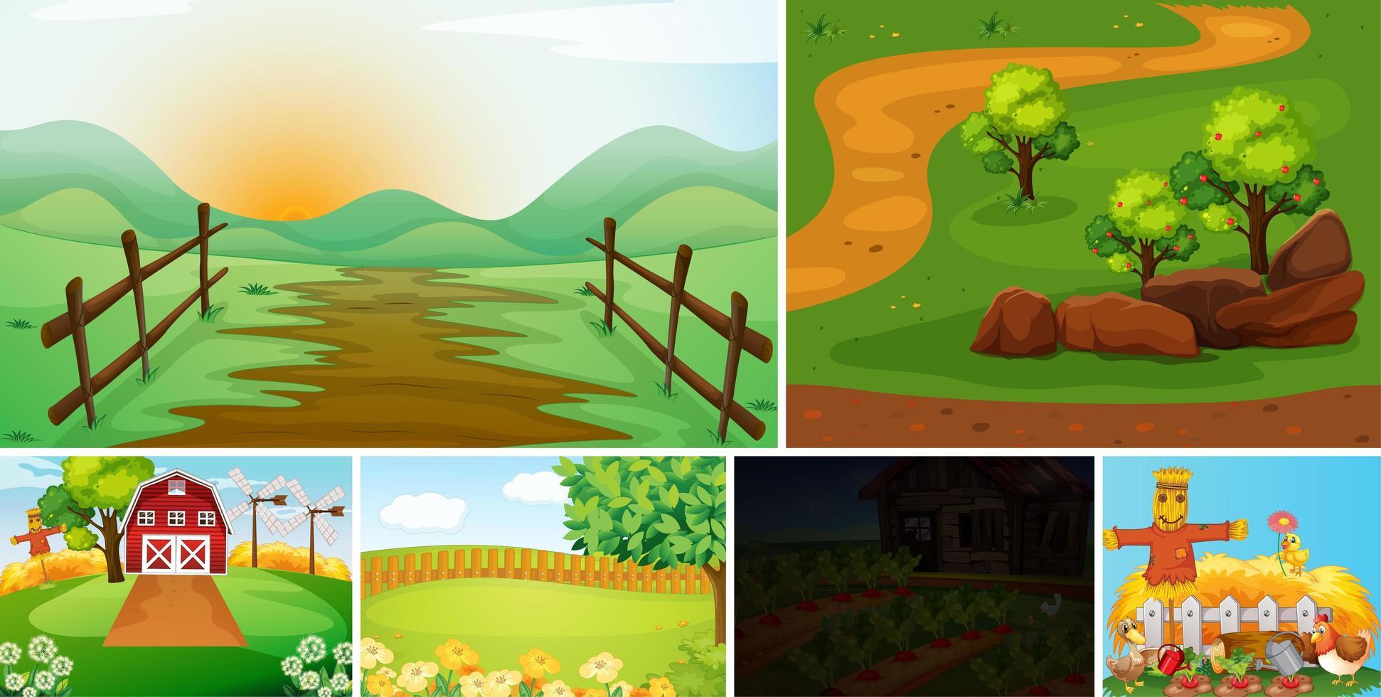 set van boerderij scène cartoon stijl vector