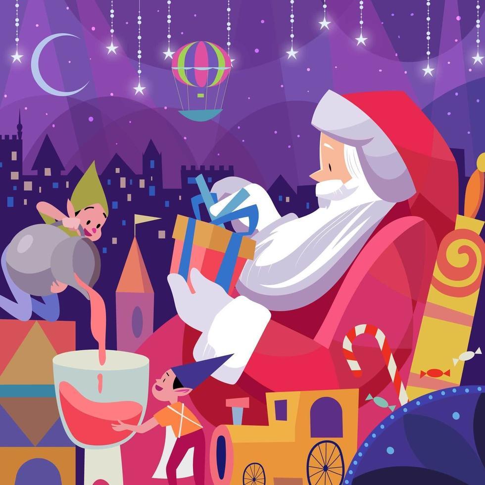kerstman inpakgeschenk voor de kinderen vector