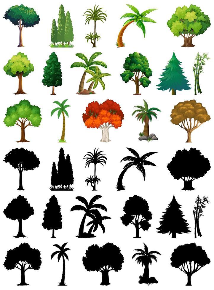 aantal planten en bomen met silhouetten vector