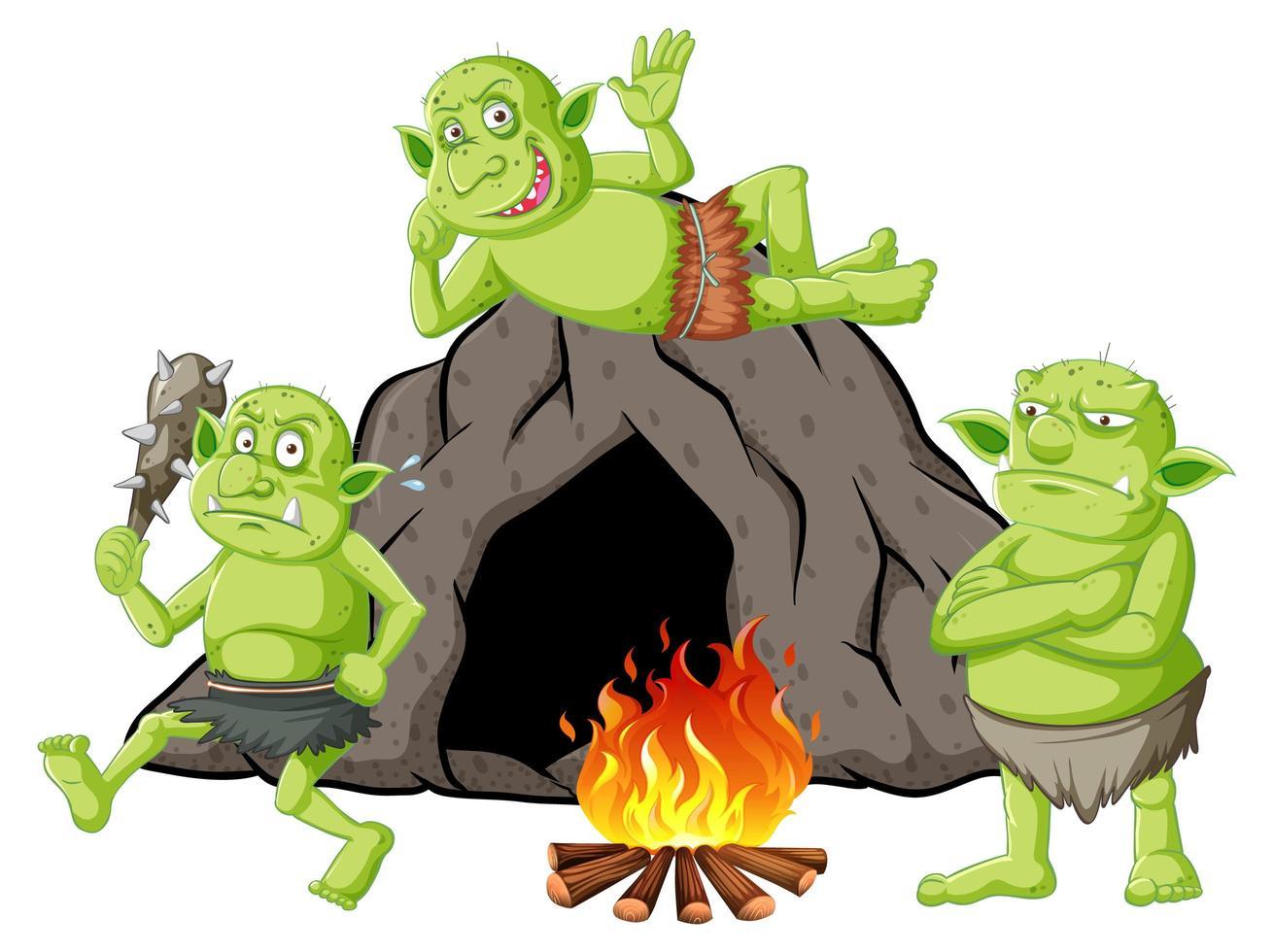 goblins of trollen met grotwoning en kampvuur vector