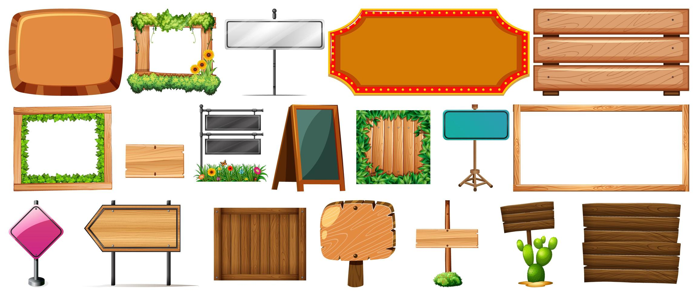 set van verschillende soorten borden, banners vector