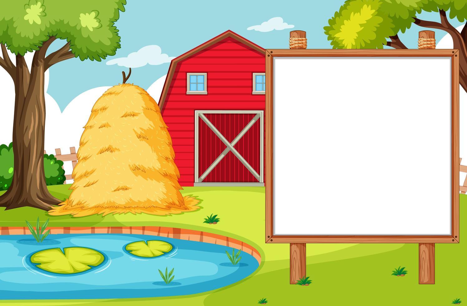 lege banner bord in natuur boerderij landschap vector