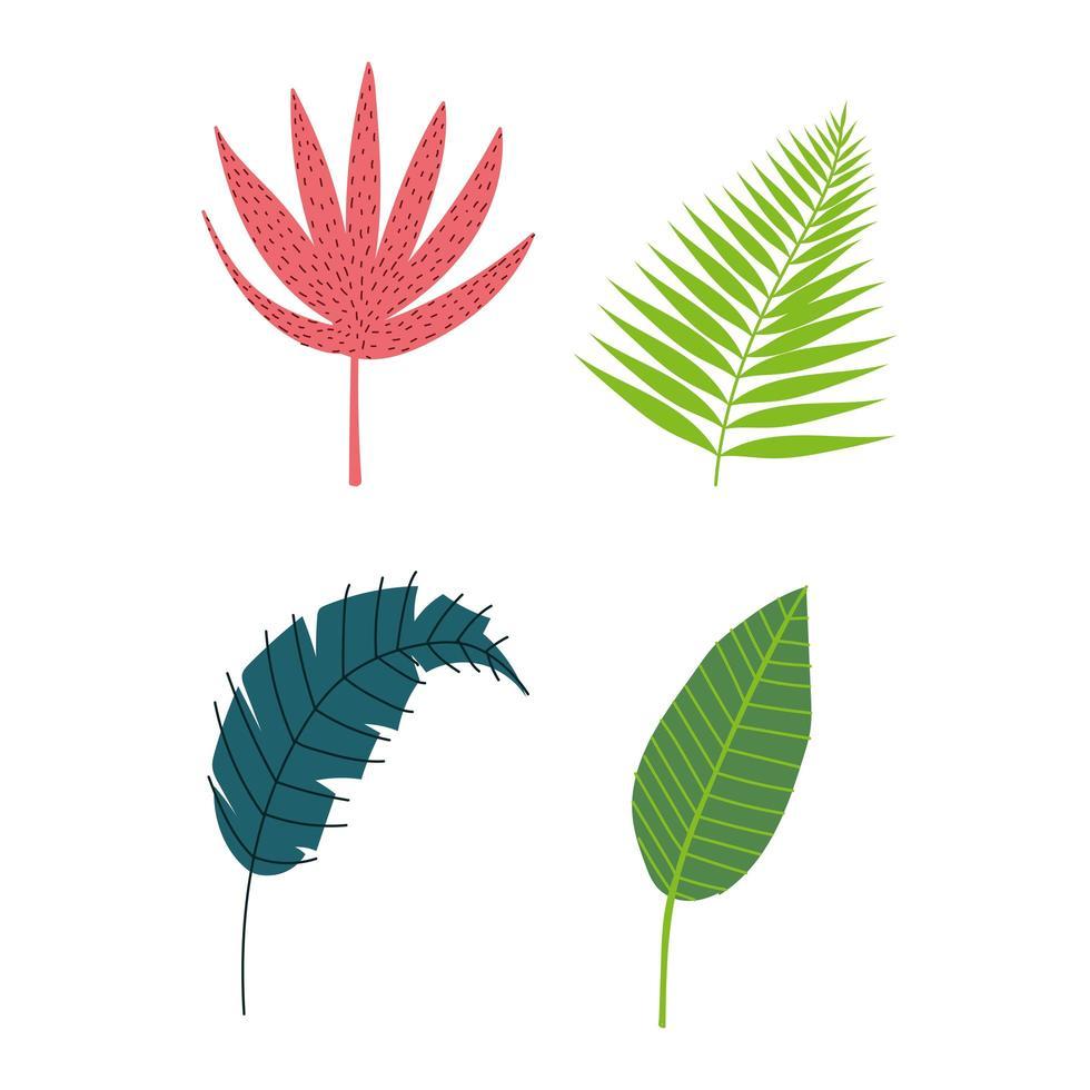 set van tropische bladeren en gebladerte vector