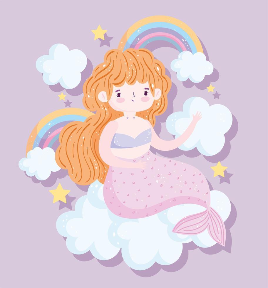kleine blonde zeemeermin met regenbogen en wolken vector