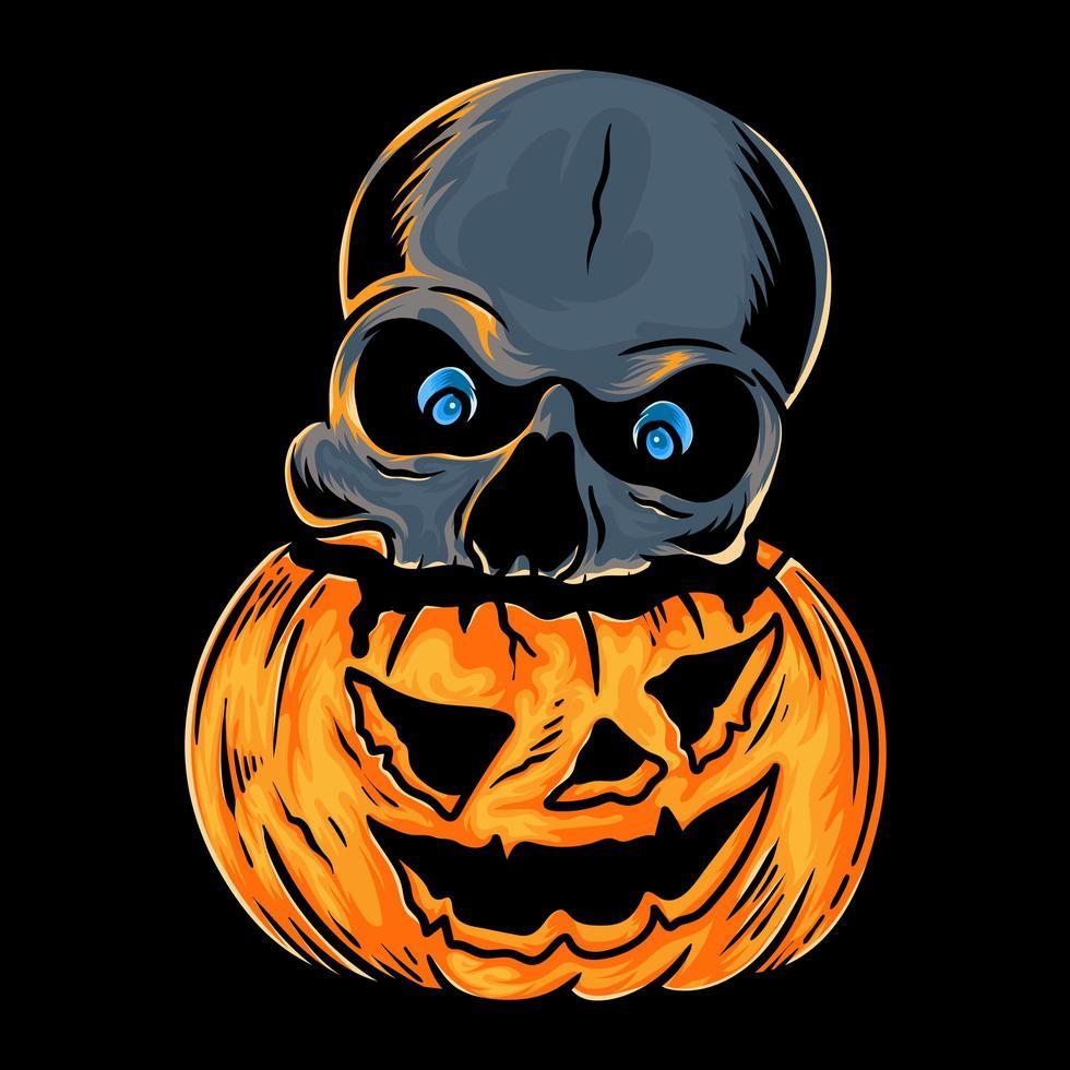 schedelhoofd in pompoen voor halloween vector
