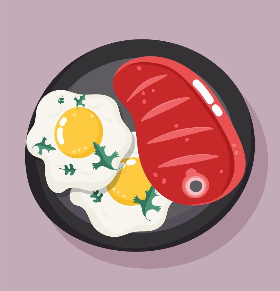 eten diner in schotel. biefstuk en gebakken eieren vector