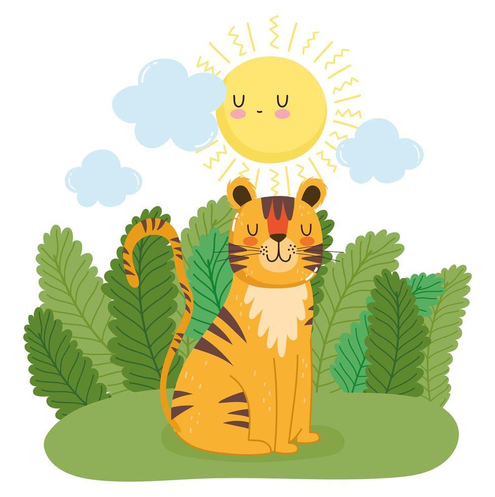 schattige tijger zittend op het gras in de natuur vector