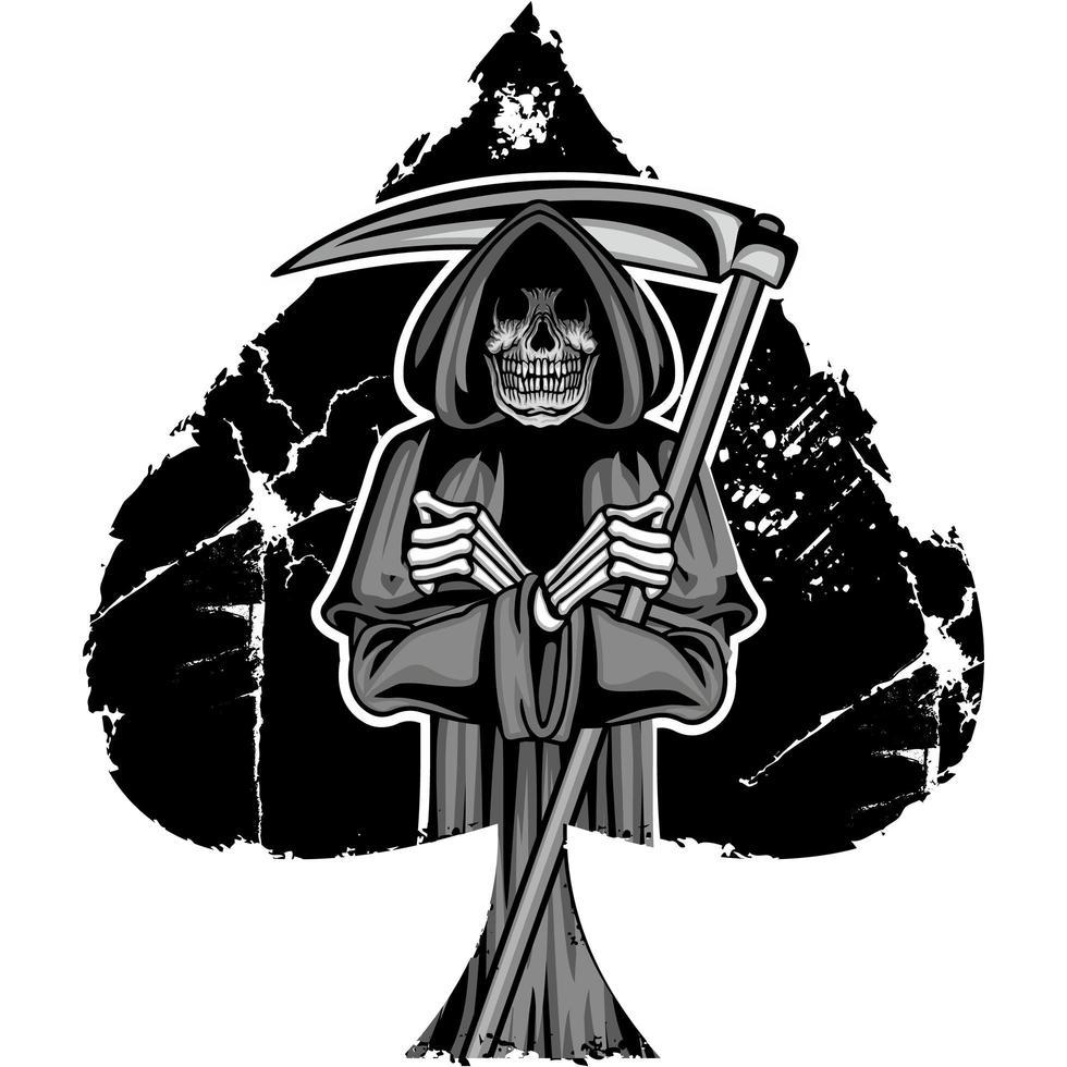 grunge spade met onverbiddelijke reaper vector