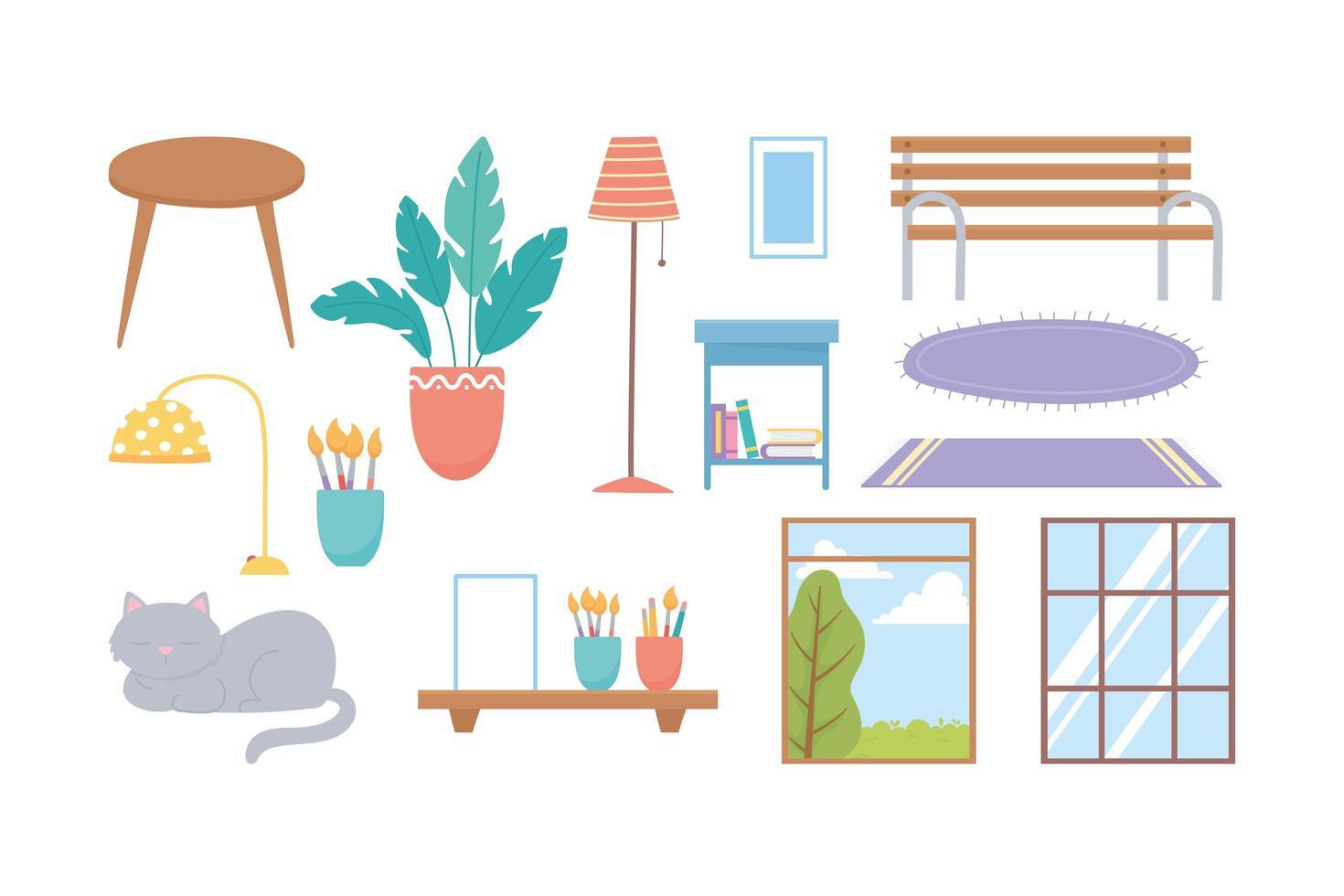 huis en decor pictogramserie vector