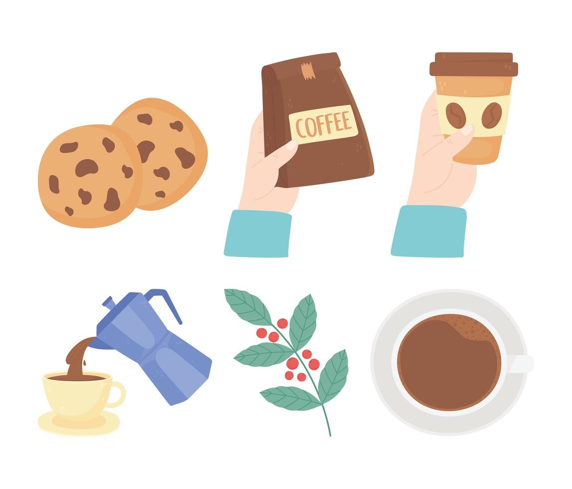 schattige koffiepauze pictogramserie vector