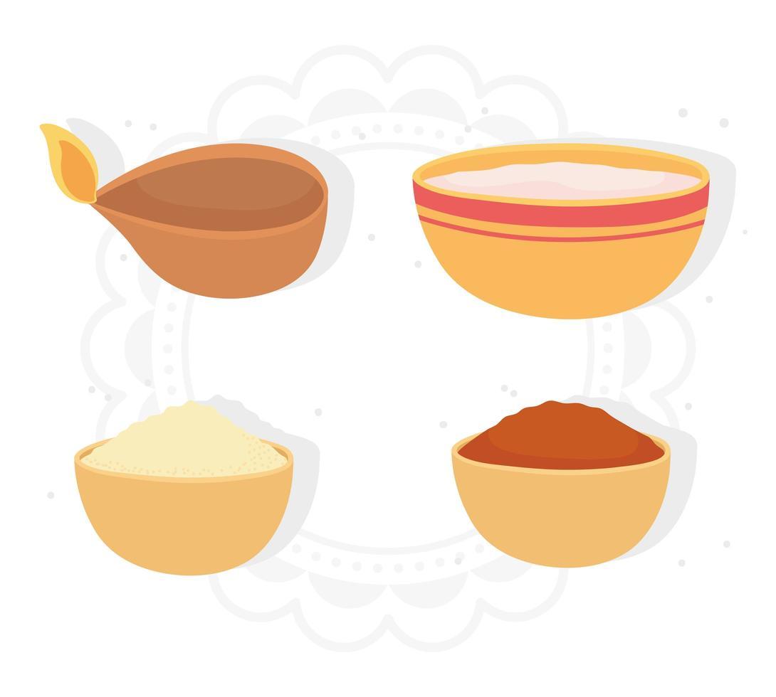 gelukkige bhai dooj. licht, kruiden, eten in kommen vector