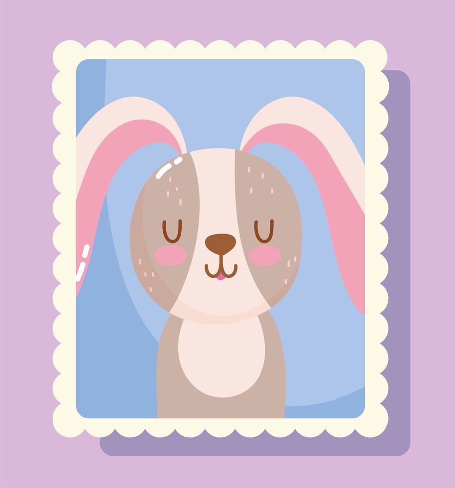 schattig konijn cartoon in mail stempel vector