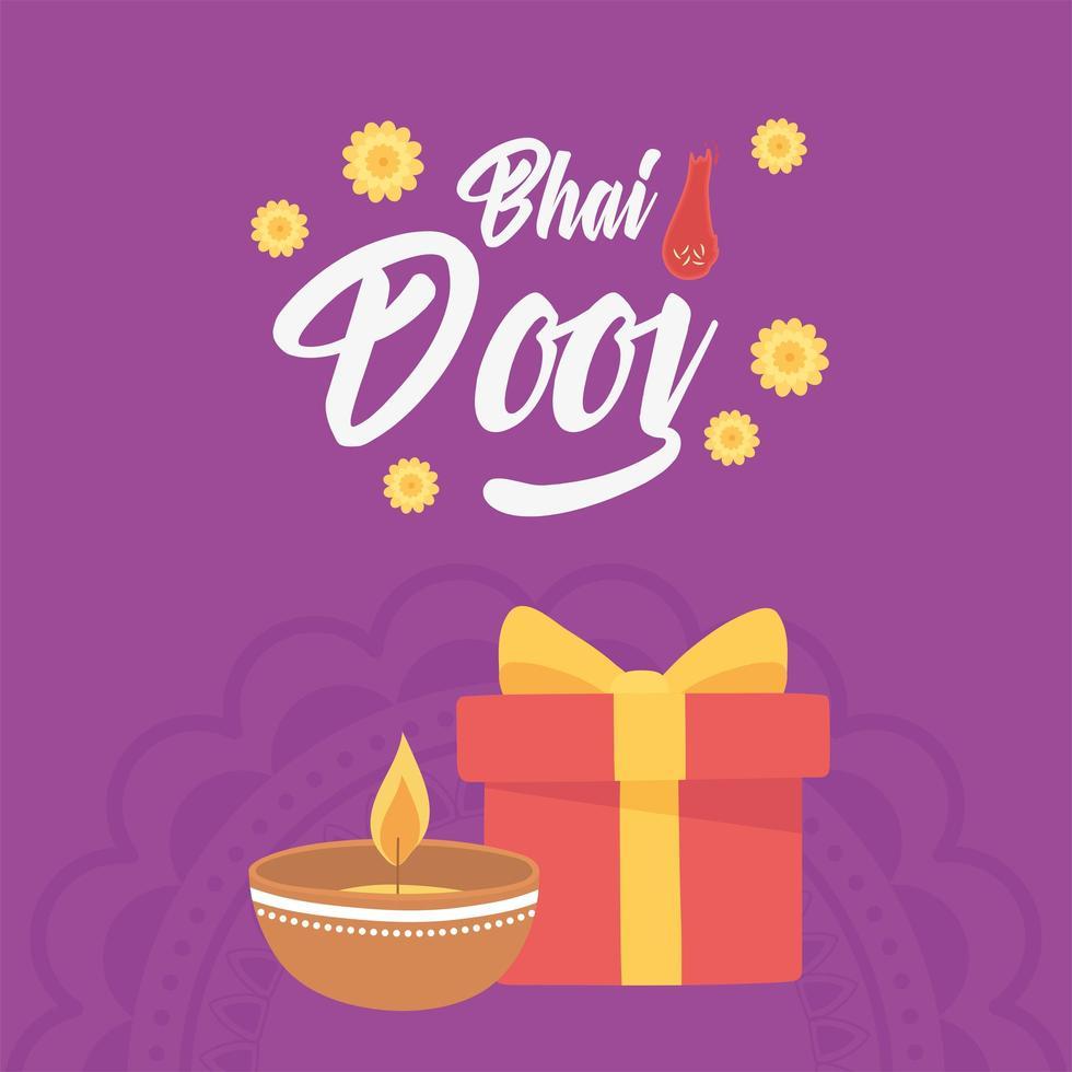happy bhai dooj, diya lamp cadeau en bloemen vector