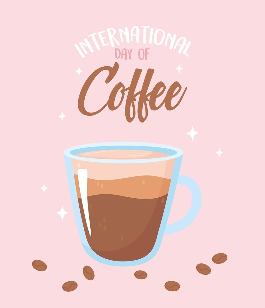 kopje koffie voor internationale koffiedag vector