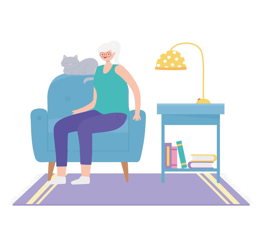 senior vrouw zittend op een stoel binnenshuis vector