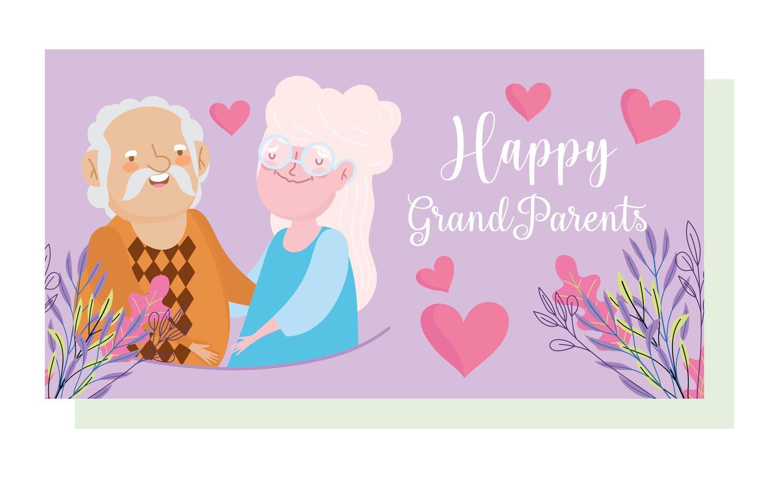 portret van bejaarde echtpaar met bloemen en harten vector