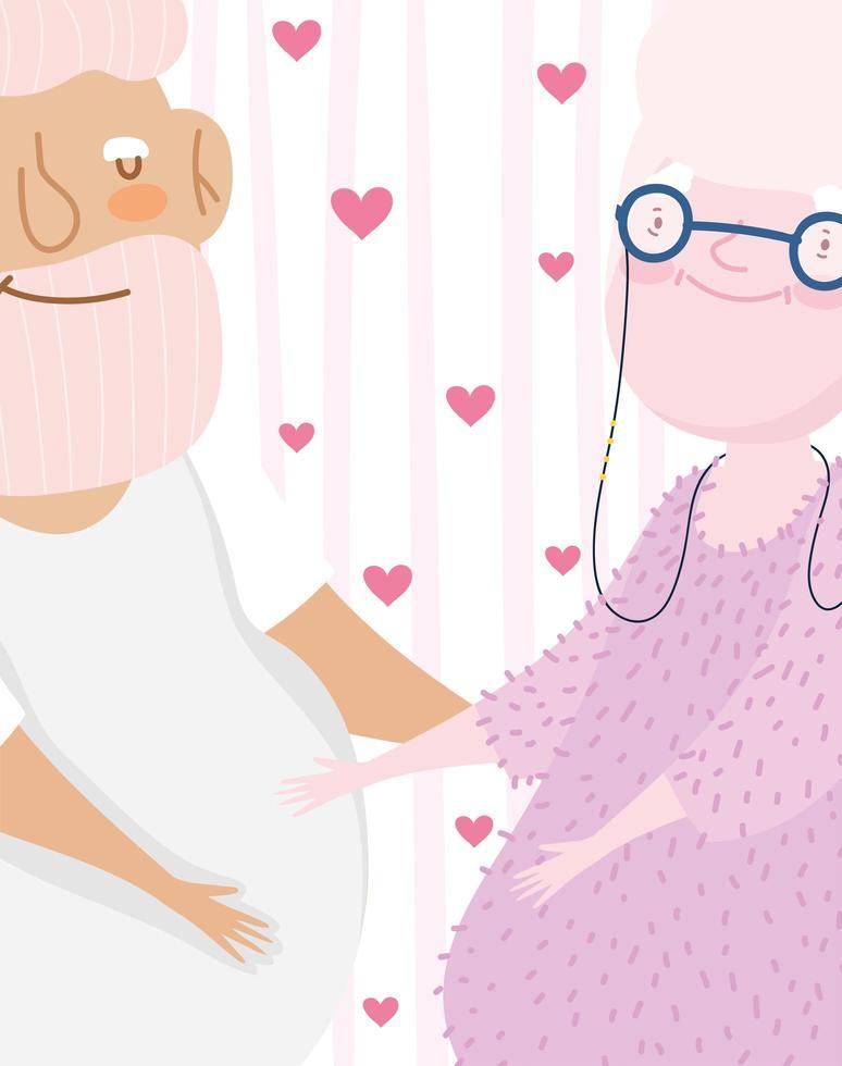 schattige bejaarde echtpaar cartoon samen op hartjes achtergrond vector