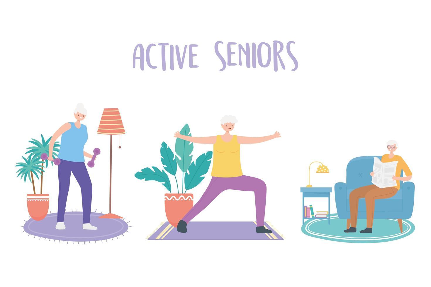 ouderen die binnenactiviteiten doen vector