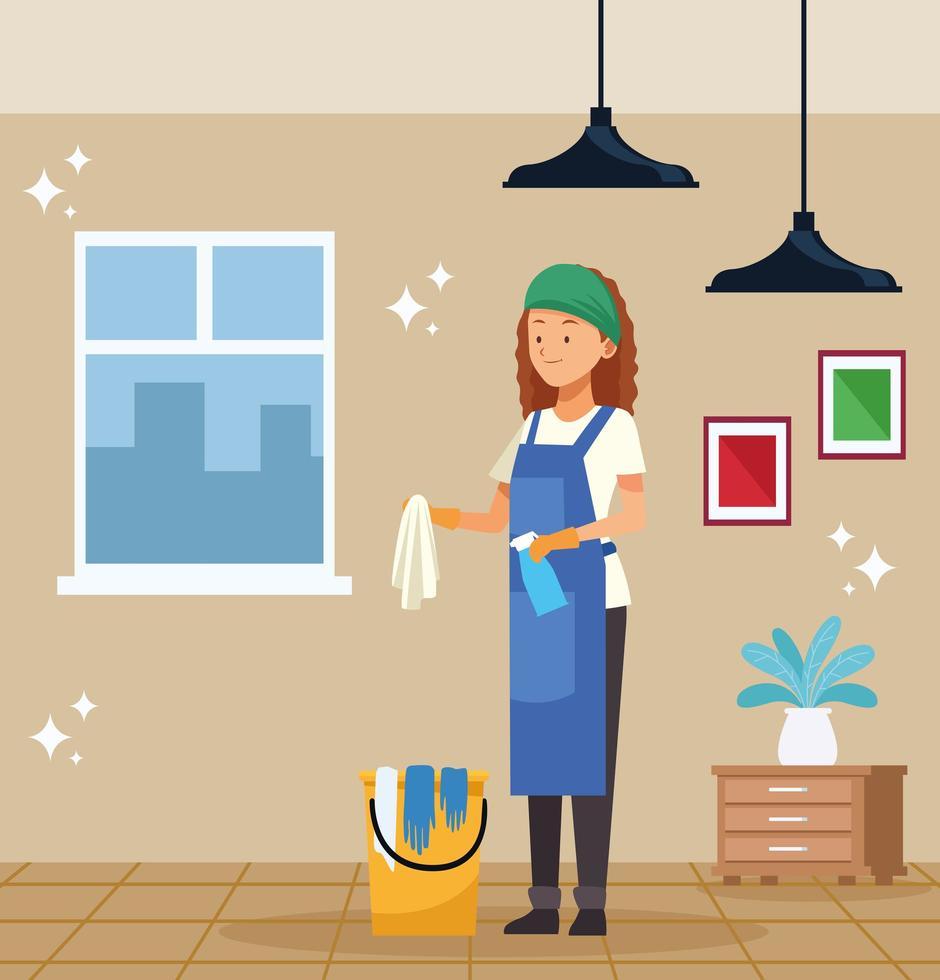 vrouwelijke huishoudster met emmer vector
