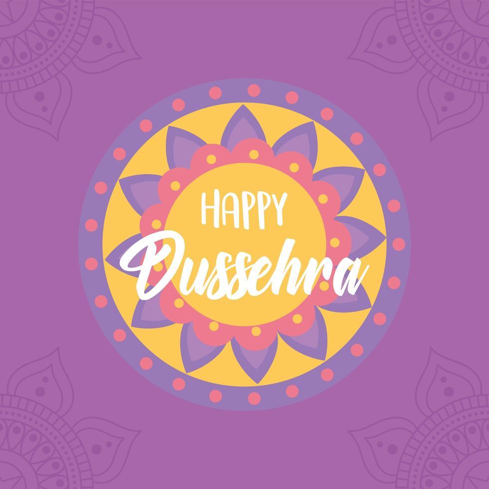 gelukkig dussehra-festival van india. mandala traditionele kaart vector