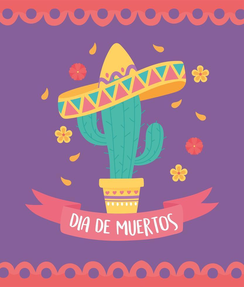 dia de muertos-feest met cactus en sombrero vector