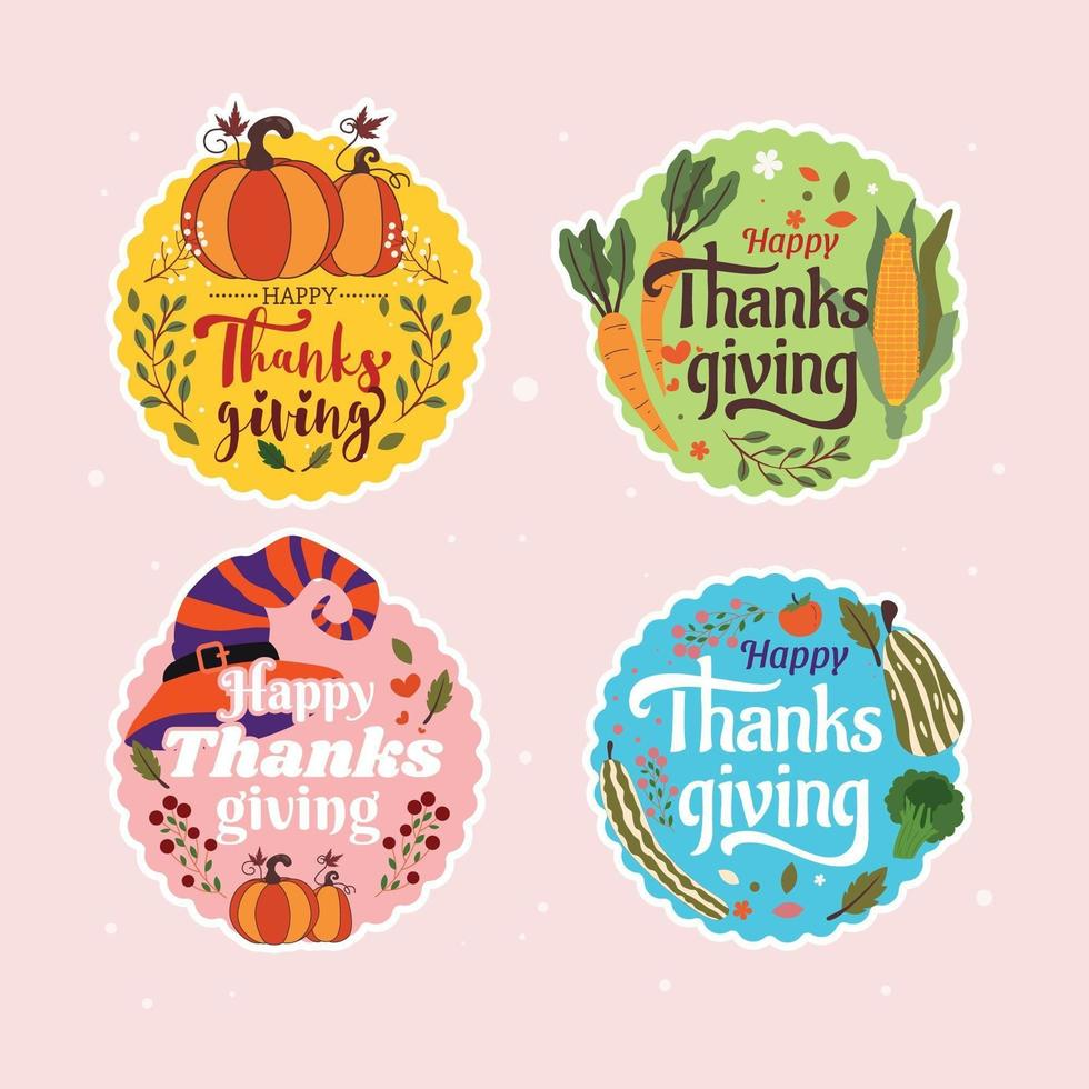 kleurrijke thanksgiving sticker of label pack vector