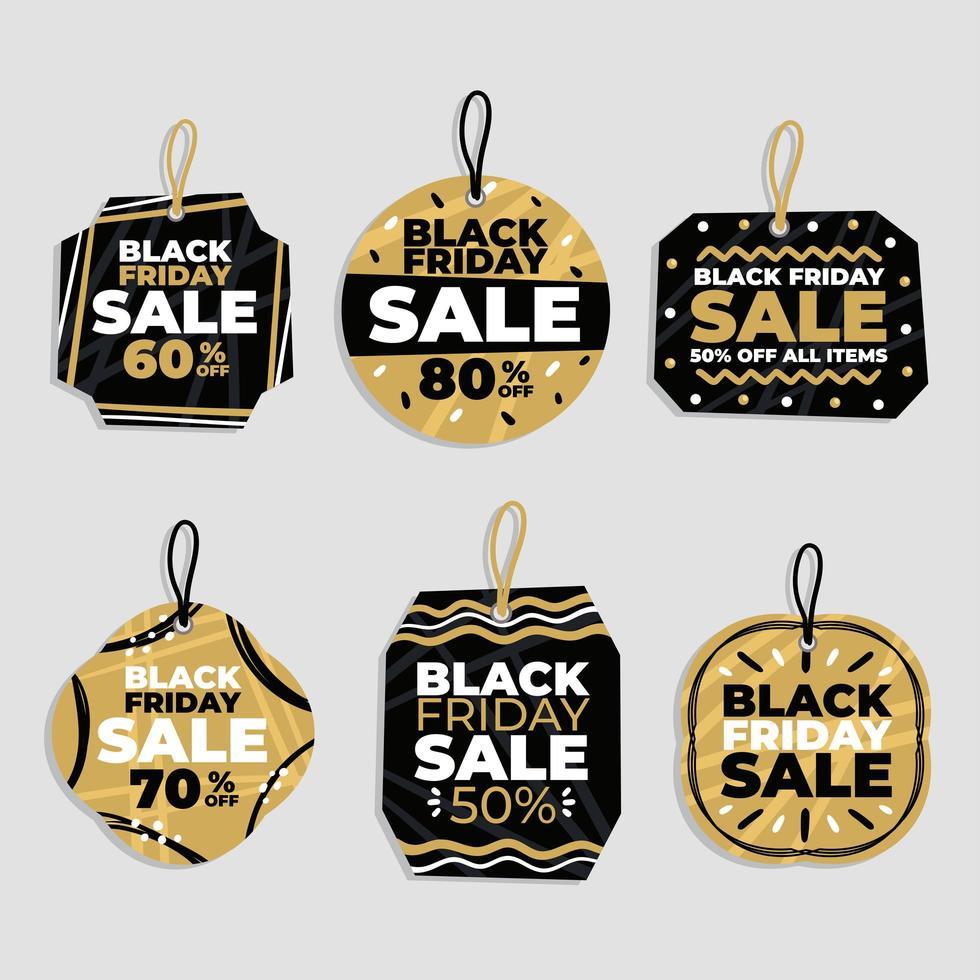 abstracte zwarte vrijdag verkoop label set vector