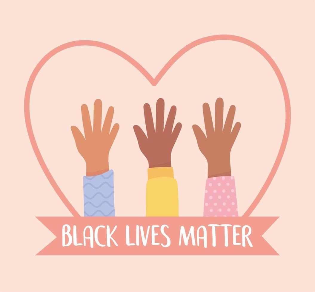 zwarte levens zijn belangrijk en stop de bewustmakingscampagne over racisme vector
