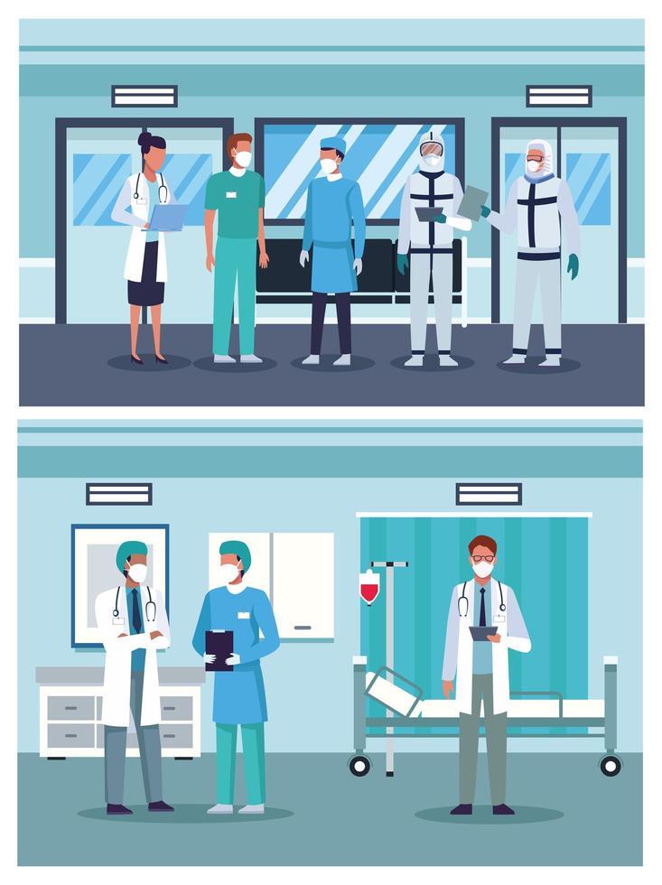 groep artsenpersoneel die medische geplaatste maskers dragen vector