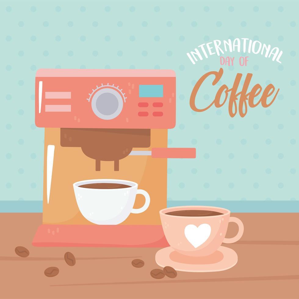 internationale koffiedag. machine en kopjes met zaden vector