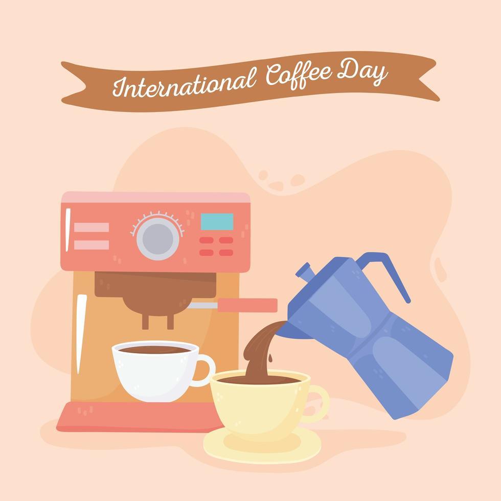 internationale koffiedag. machine beker en waterkoker vector