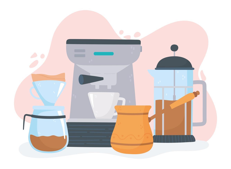koffiezetmethoden ingesteld vector
