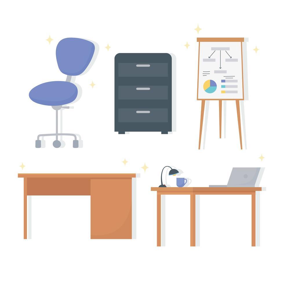 set kantoor werkruimte interieurelementen vector