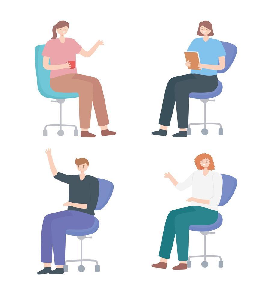 aantal mensen zittend in een bureaustoel vector
