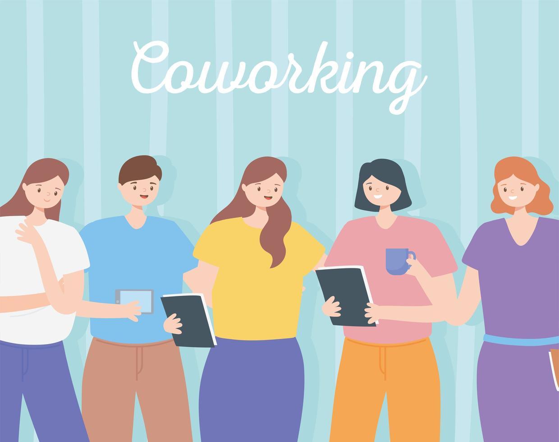 coworking concept met een team van medewerkers vector