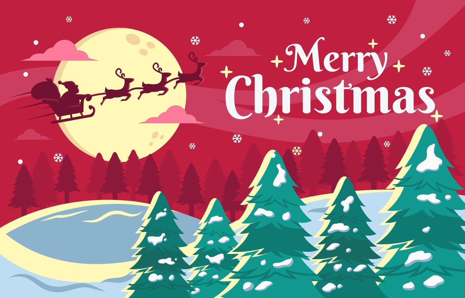 vliegende kerstman bij kerstnacht landschap-achtergrond vector