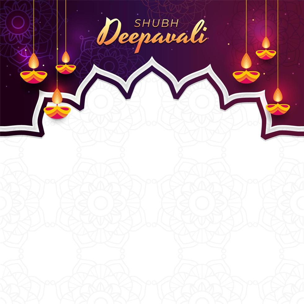 deepavali-viering met hangende olielampachtergrond vector