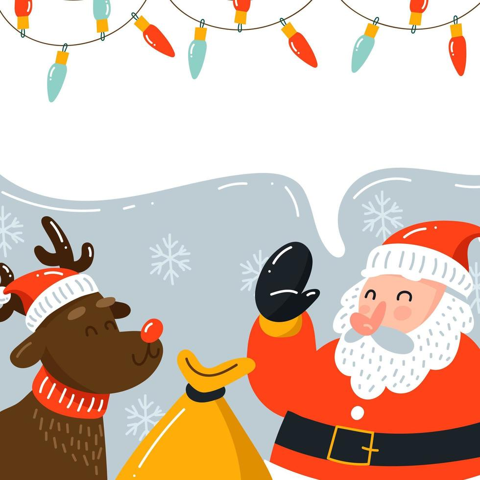 kerstman en rudolph de hertenachtergrond vector